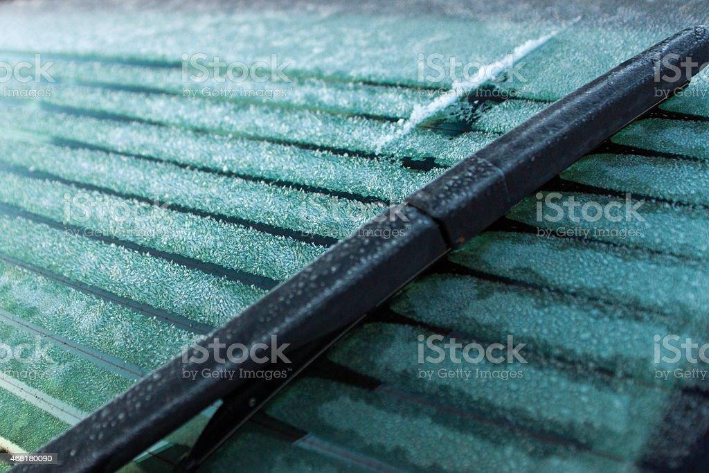 Rear windscreen frost stock photo