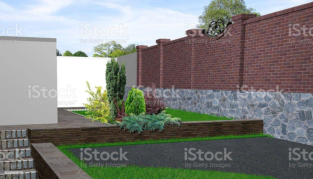 Rear yard landscaping, 3d render stock photo