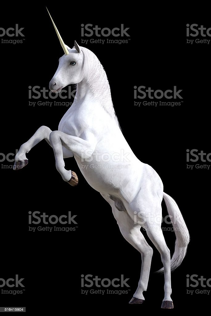 Rearing unicorn stock photo
