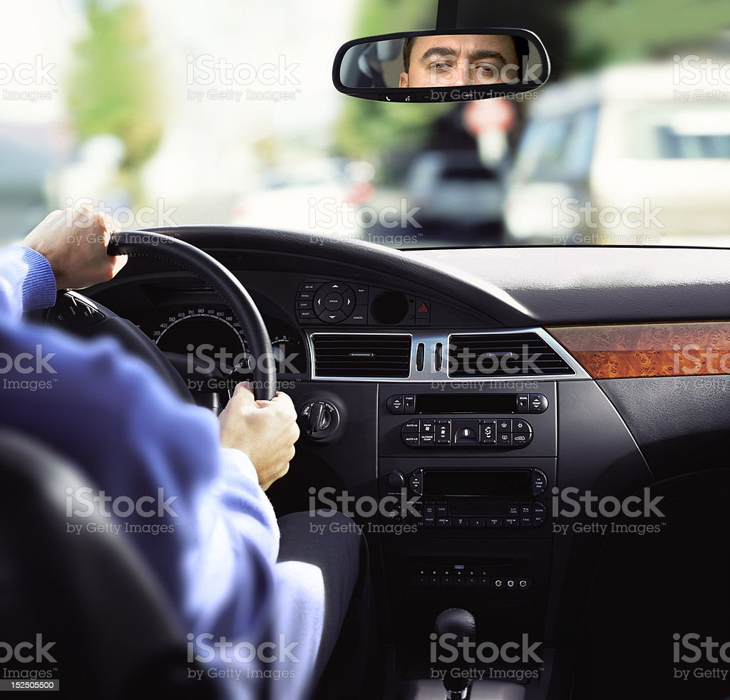 rear-view mirror and dashboard royalty-free stock photo