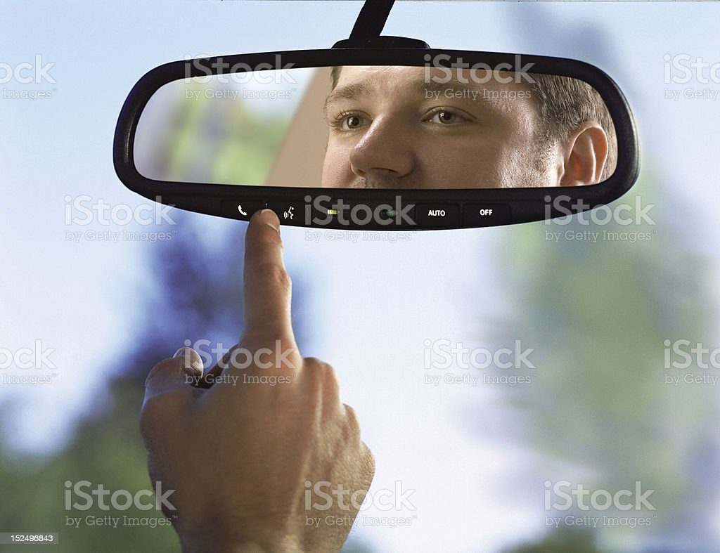 rear-view mirror in a car royalty-free stock photo