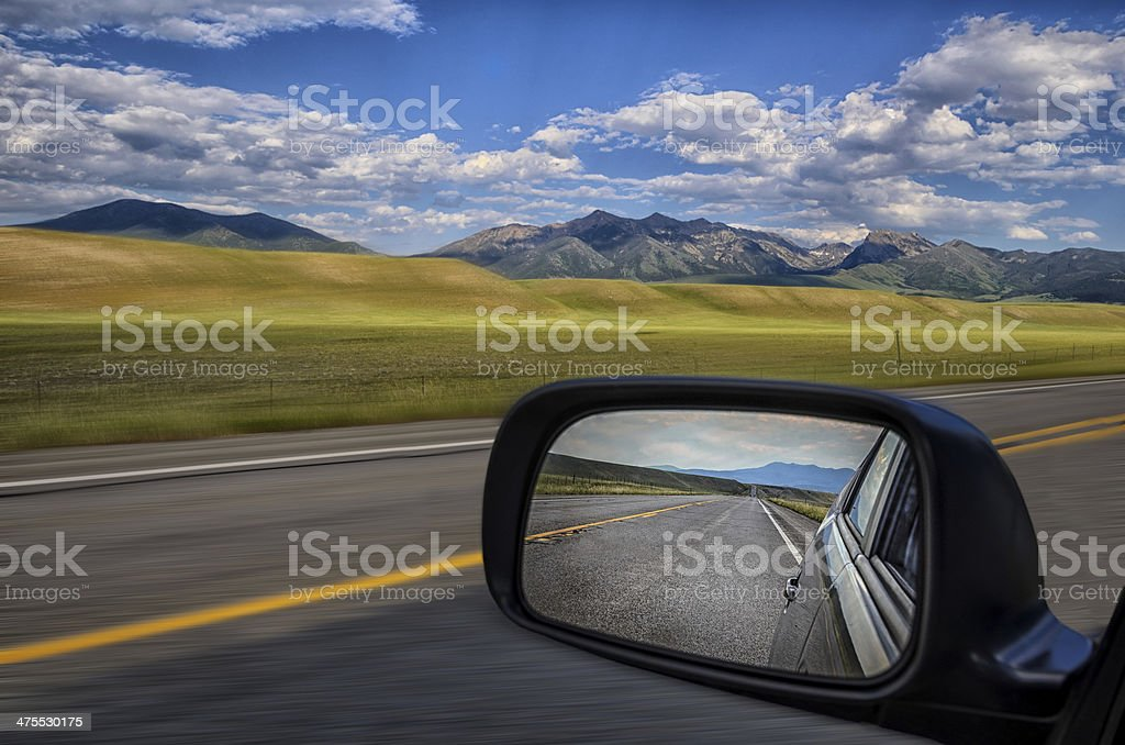 Rear-view mirror stock photo