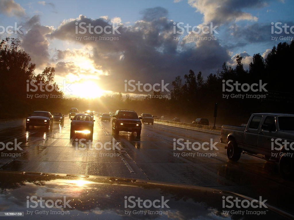Rearview Mirror View of Hwy Traffic royalty-free stock photo