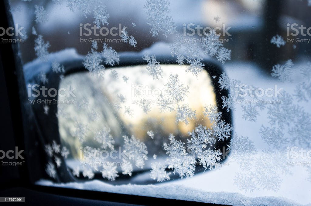 rear-view mirror with ice crystal royalty-free stock photo