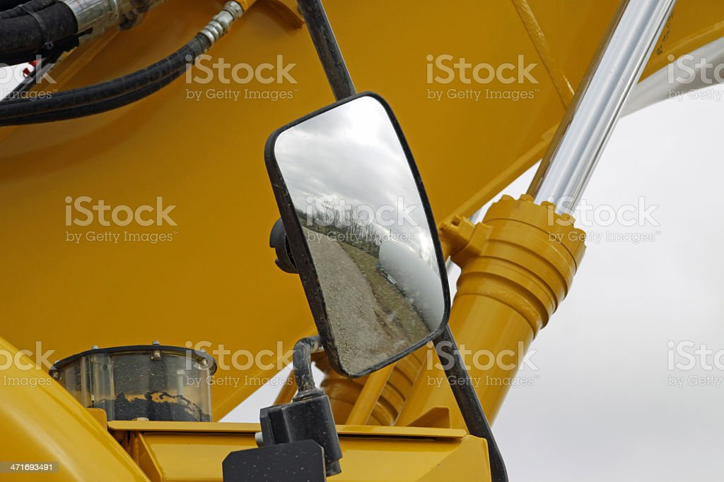 Rear-view mirrors on an excavator stock photo