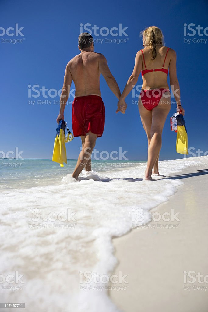 Rearview of Couple Walking Along The Beach royalty-free stock photo