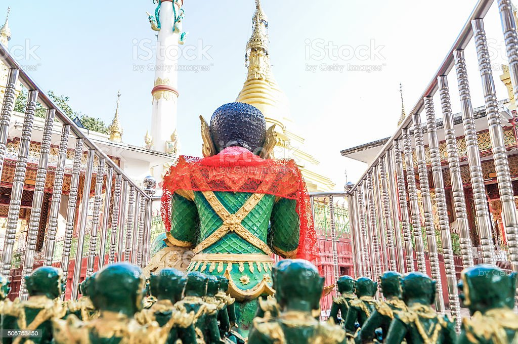 Rearview of Ogre King and his army at Mandalay Hill stock photo