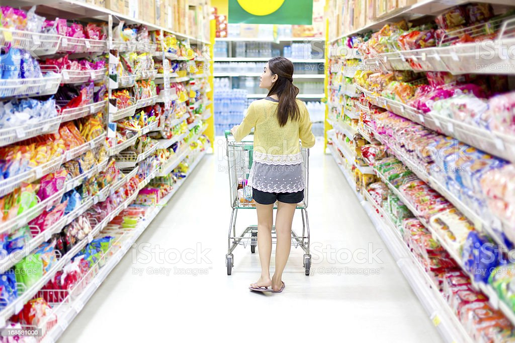 Rear-view of woman shopping in grocery store royalty-free stock photo