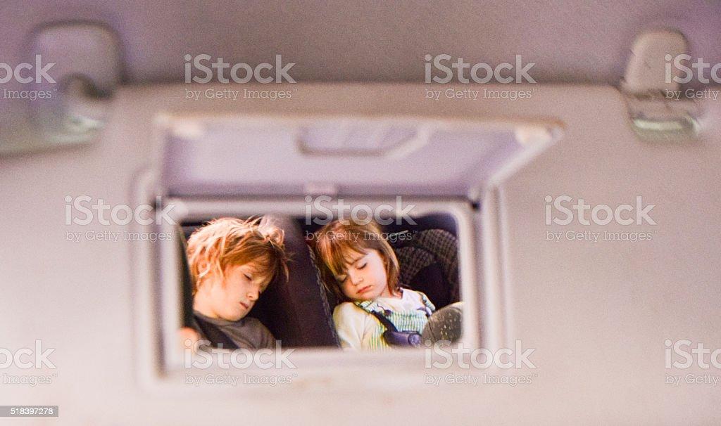 Rearview sleepers stock photo