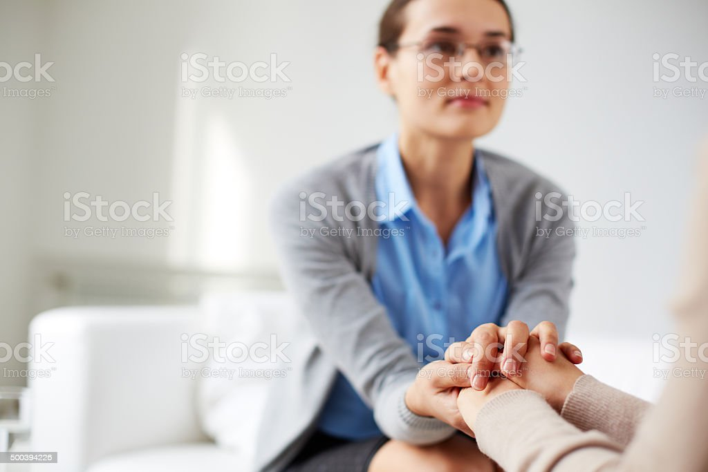 Reassuring gesture stock photo