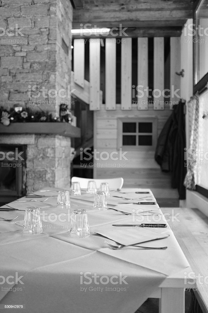 Reataurant. Black and White stock photo