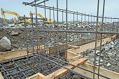 Rebar In Use On New Building Construction Site
