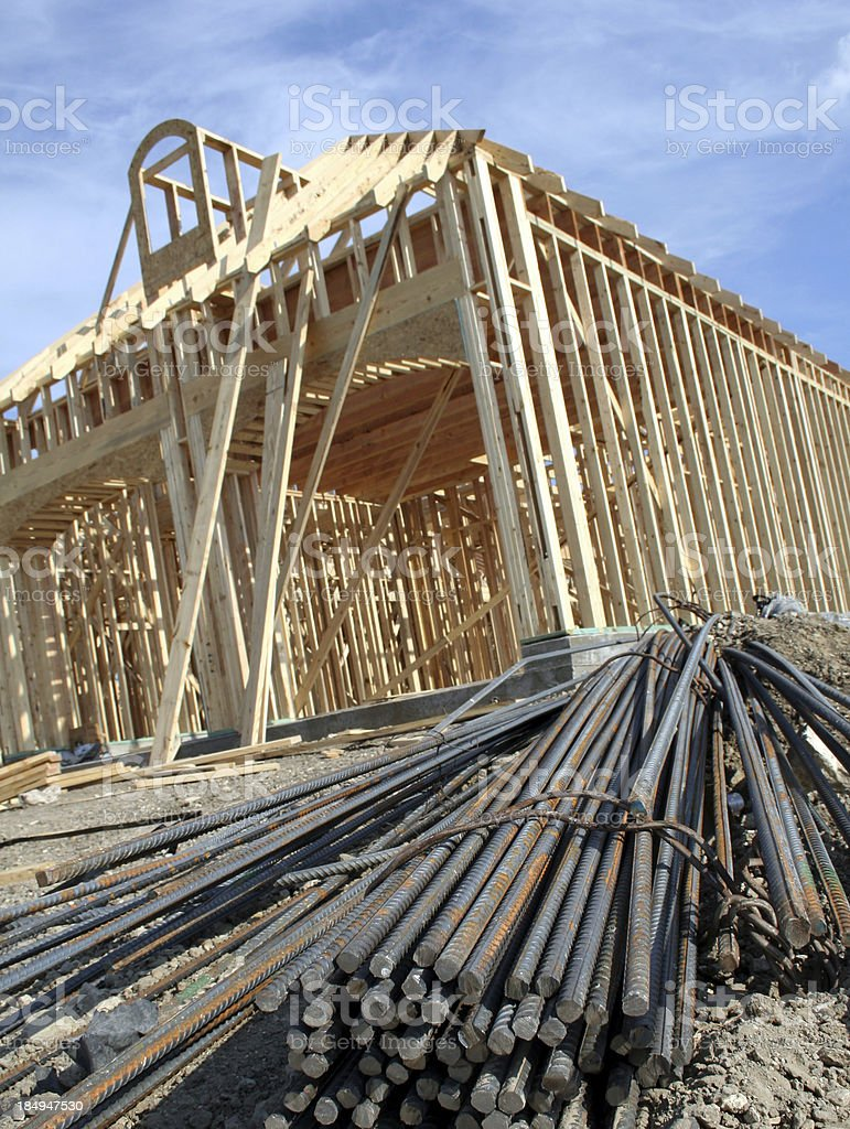 Rebar leading to Home Building stock photo