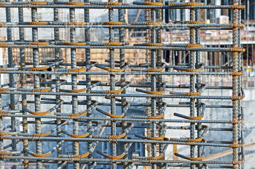 Rebar tied together in preparation for concrete pour royalty-free stock photo