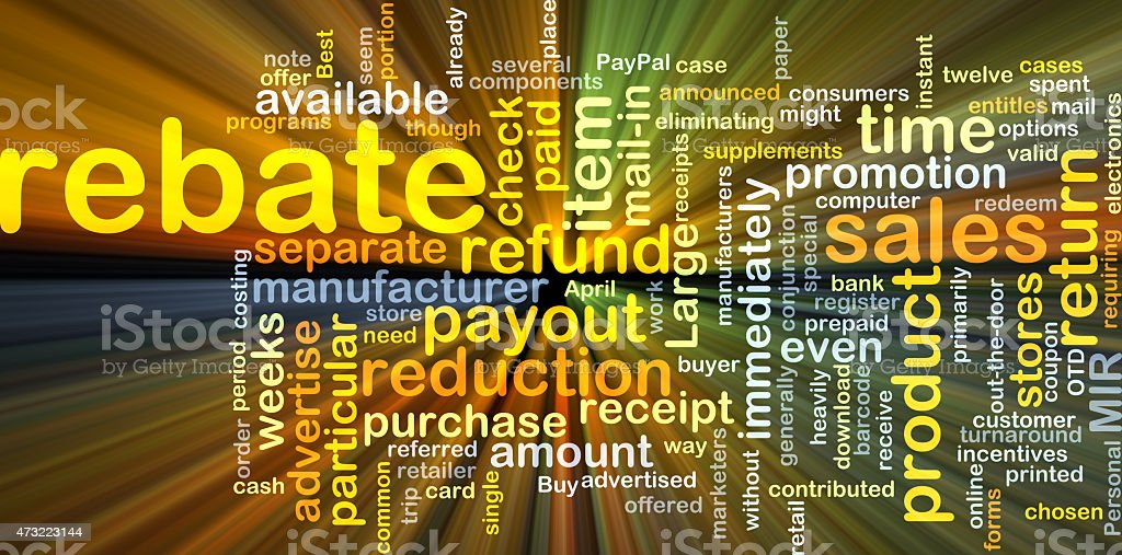 Rebate background concept glowing stock photo