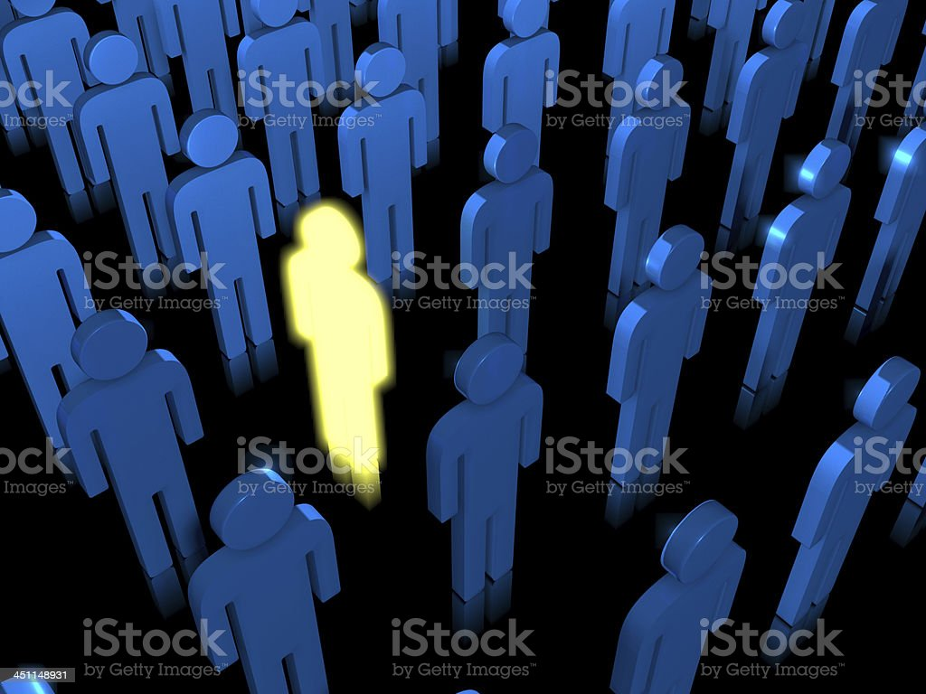 Rebel lit up in a group of blue people stock photo
