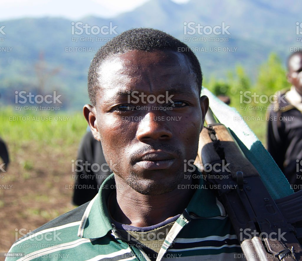 FDLR Rebel Waiting for Orders stock photo