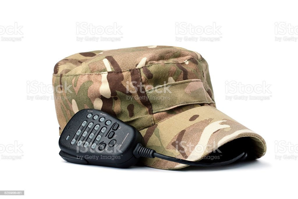 Rebels multicam cap and microphone on white stock photo