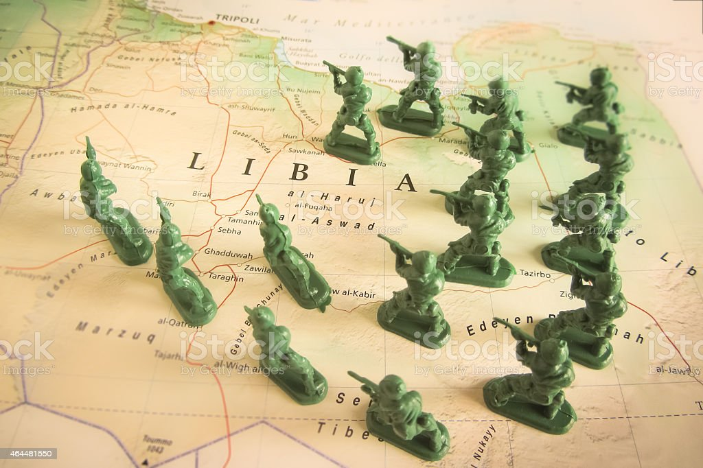 Rebels on Libya territory stock photo