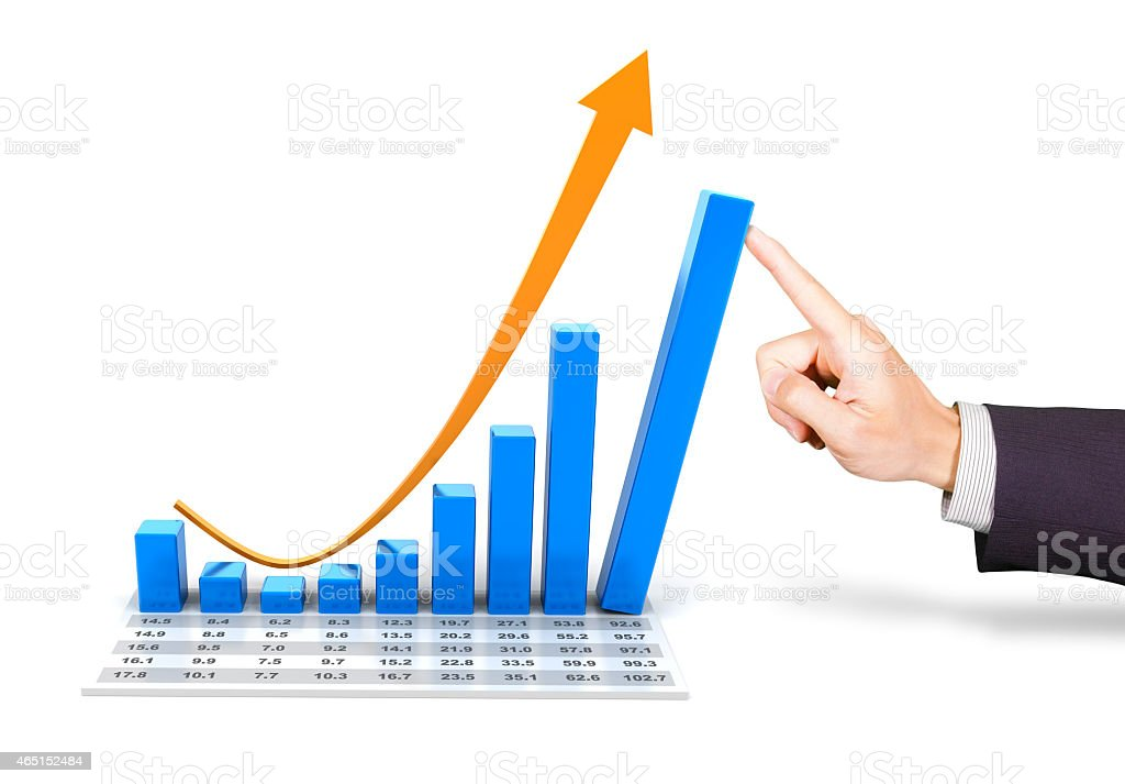 Rebounding chart with hand pushing the tallest bar stock photo