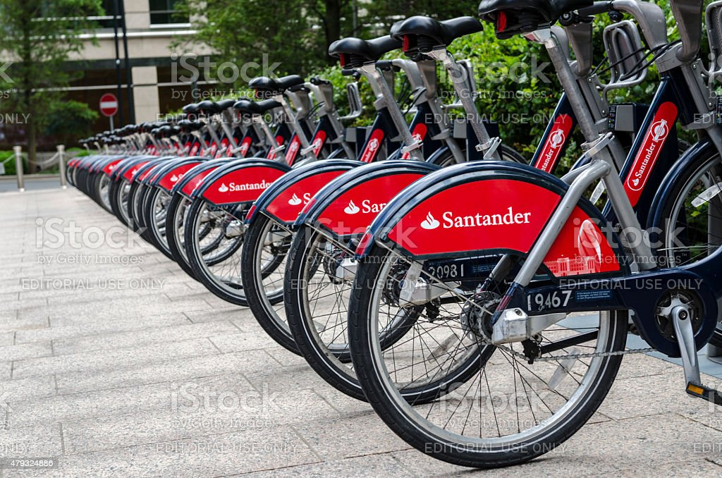 Rebranded Santander Bikes in London, Canary Wharf stock photo