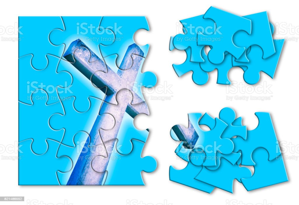 Rebuild or losing our faith - Christian cross concept image in jigsaw puzzle shape stock photo