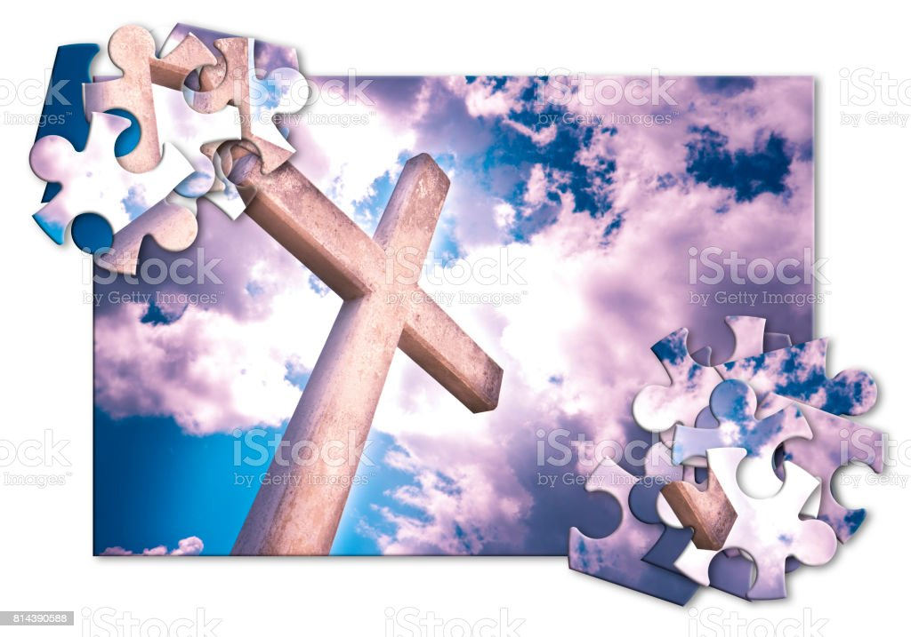 Rebuild our faith or losing faith - Christian cross against a cloudy sky - concept image in jigsaw puzzle shape stock photo