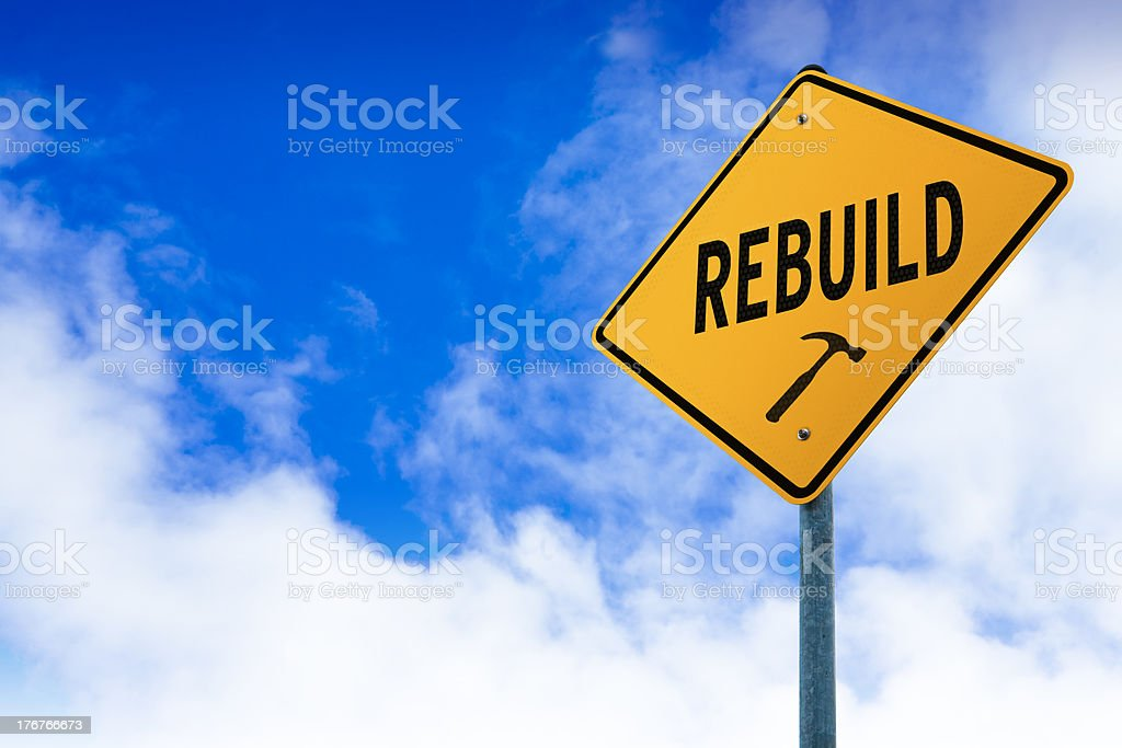 Rebuild Road Sign stock photo