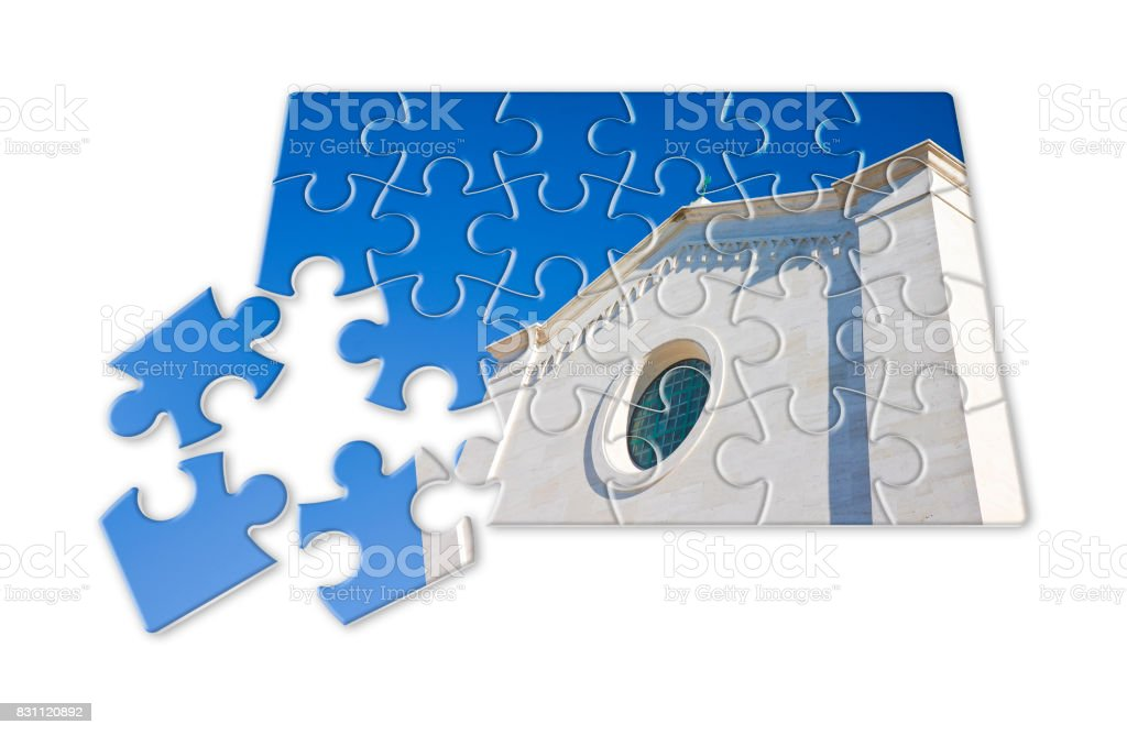 Rebuild the faith - concept image in jigsaw puzzle shape stock photo