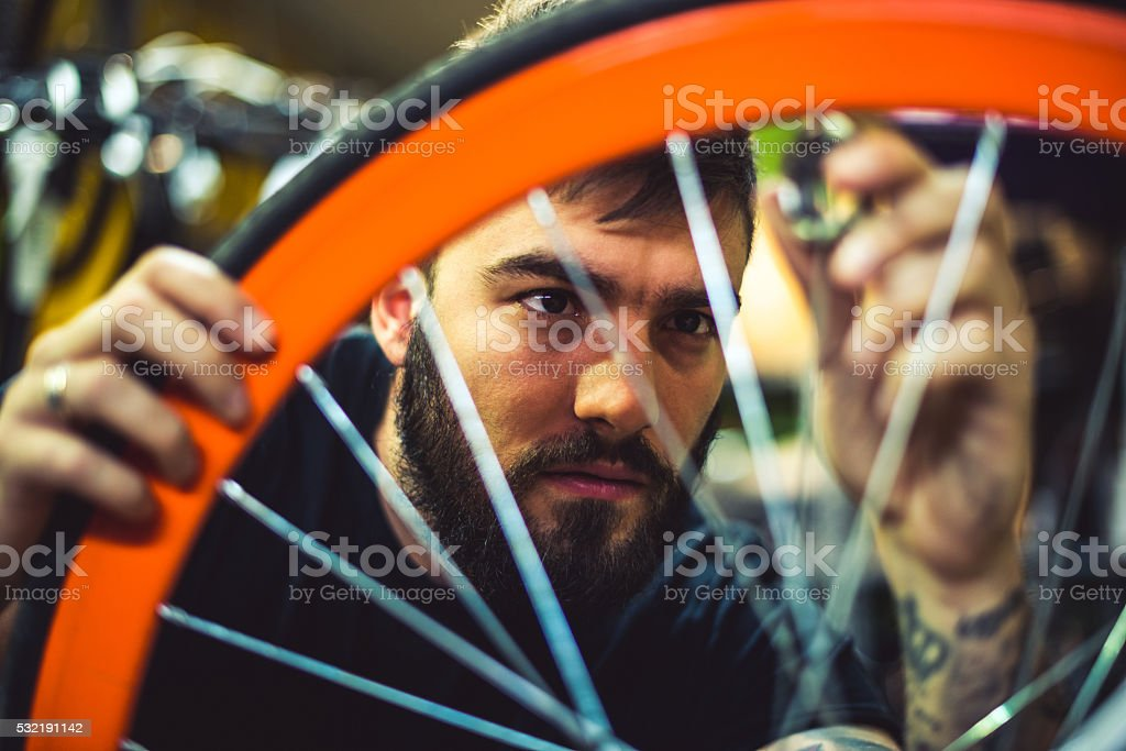 Rebuilding a broken bicycle stock photo