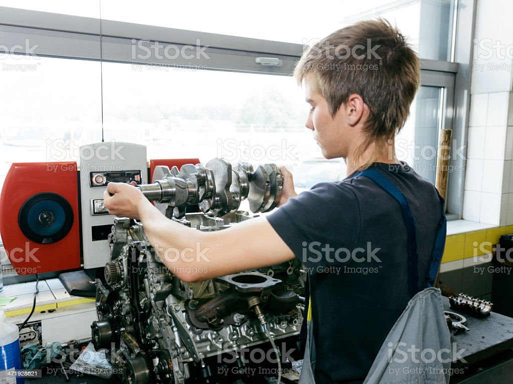 Rebuilding an engine stock photo