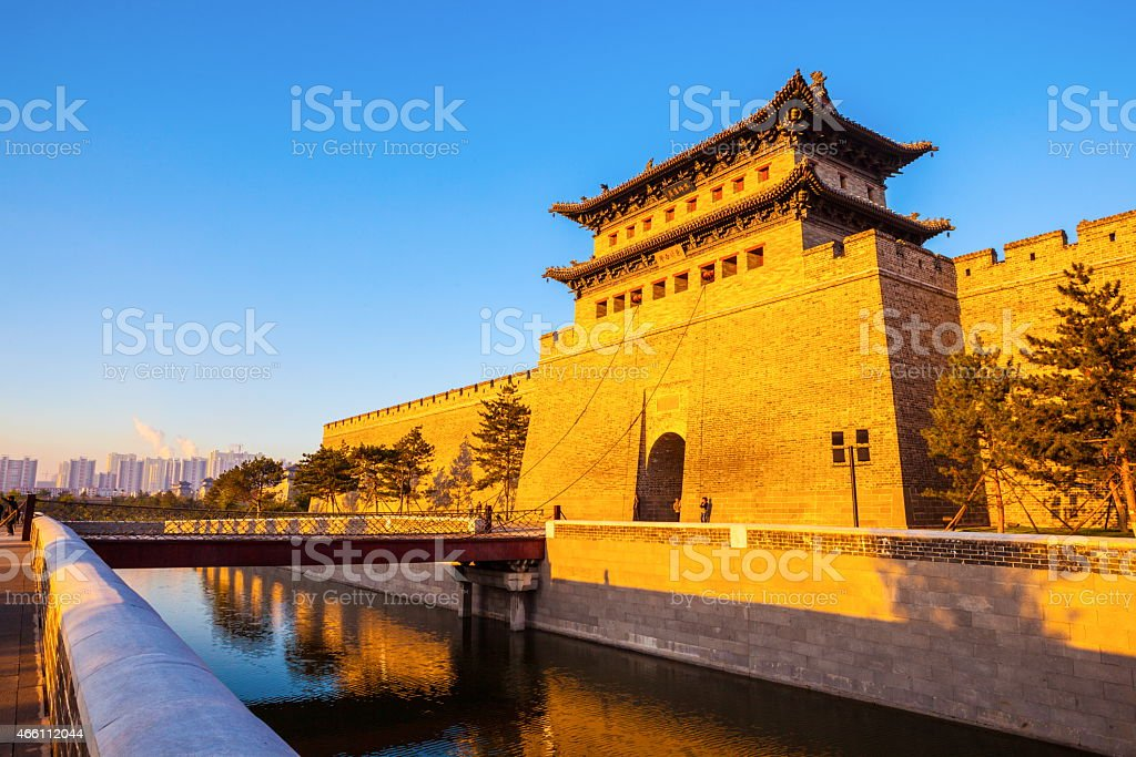 Rebuilding city wall and  gate tower of Datong stock photo