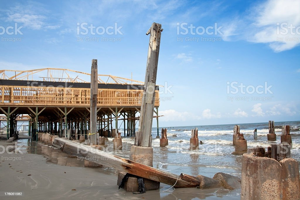 Rebuilding construction after destruction of Hurricane Ike stock photo