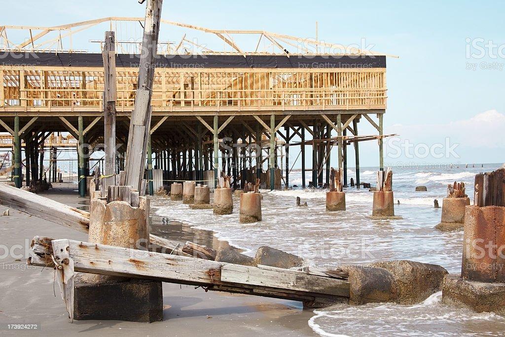 Rebuilding construction after natural disaster, destruction of Hurricane Ike. stock photo