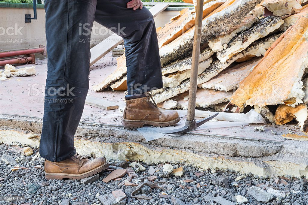 Rebuilding waterproofing and insulation of a terrace stock photo