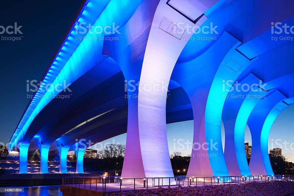 Rebuilt 35w bridge in Minneapolis, Minnesota. stock photo