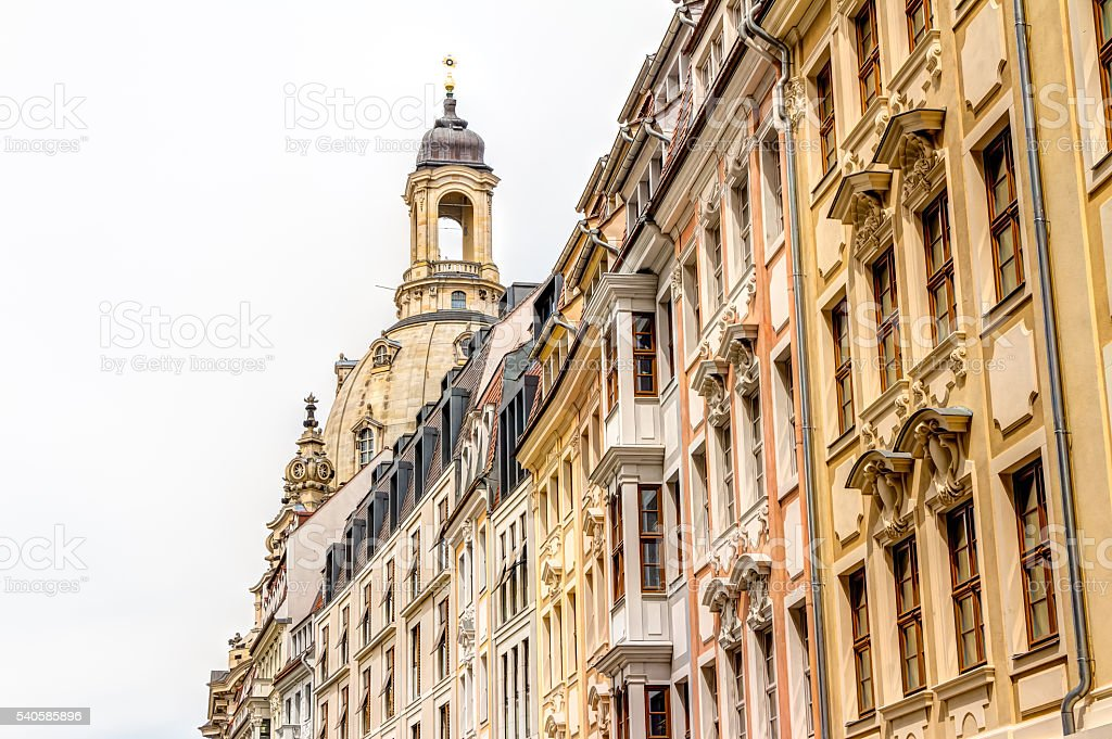 Rebuilt buildings in Dresden stock photo