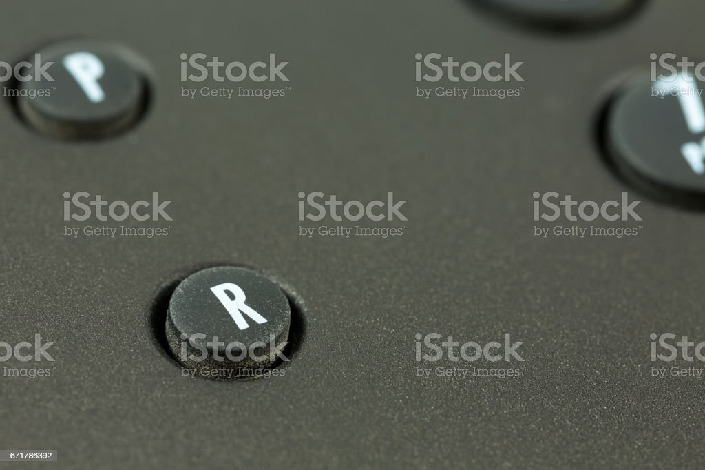 recall push button of a black telephone stock photo