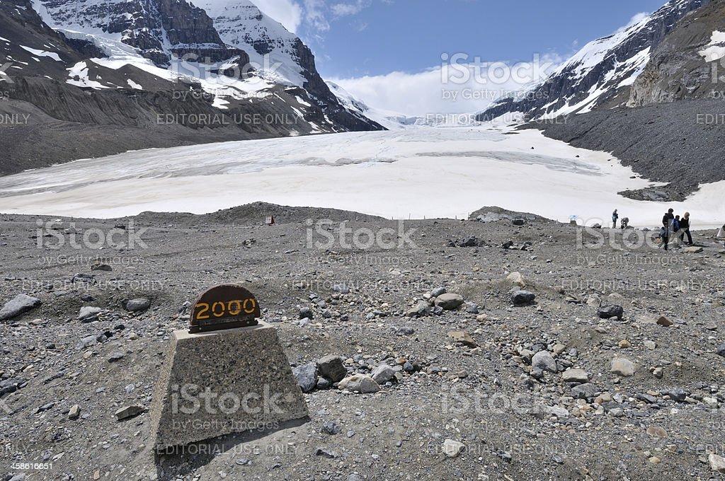 Receding glacier in Canadian Rockies stock photo