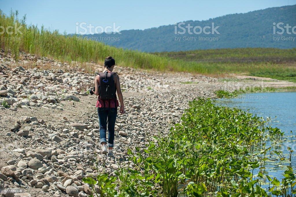 Receding shoreline of the lake stock photo