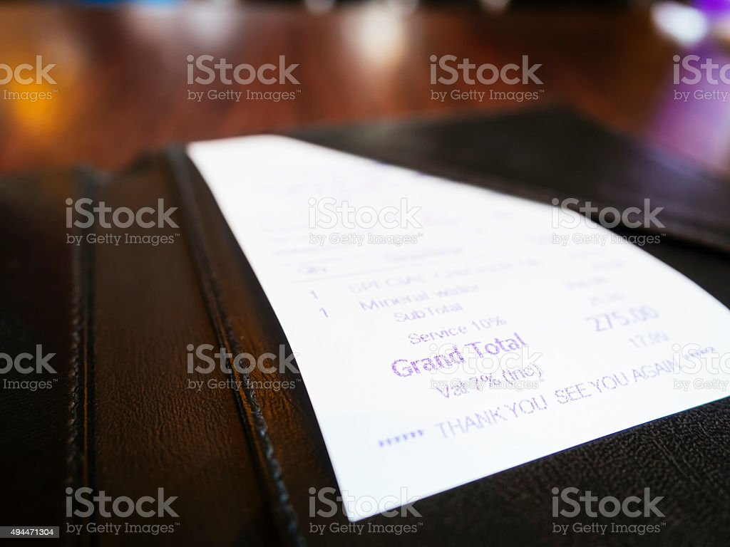 Receipt in folder Business Shopping Bill Payment stock photo