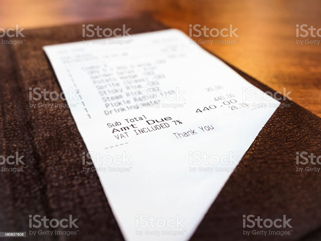 Receipt in folder perspective Business Shopping concept stock photo