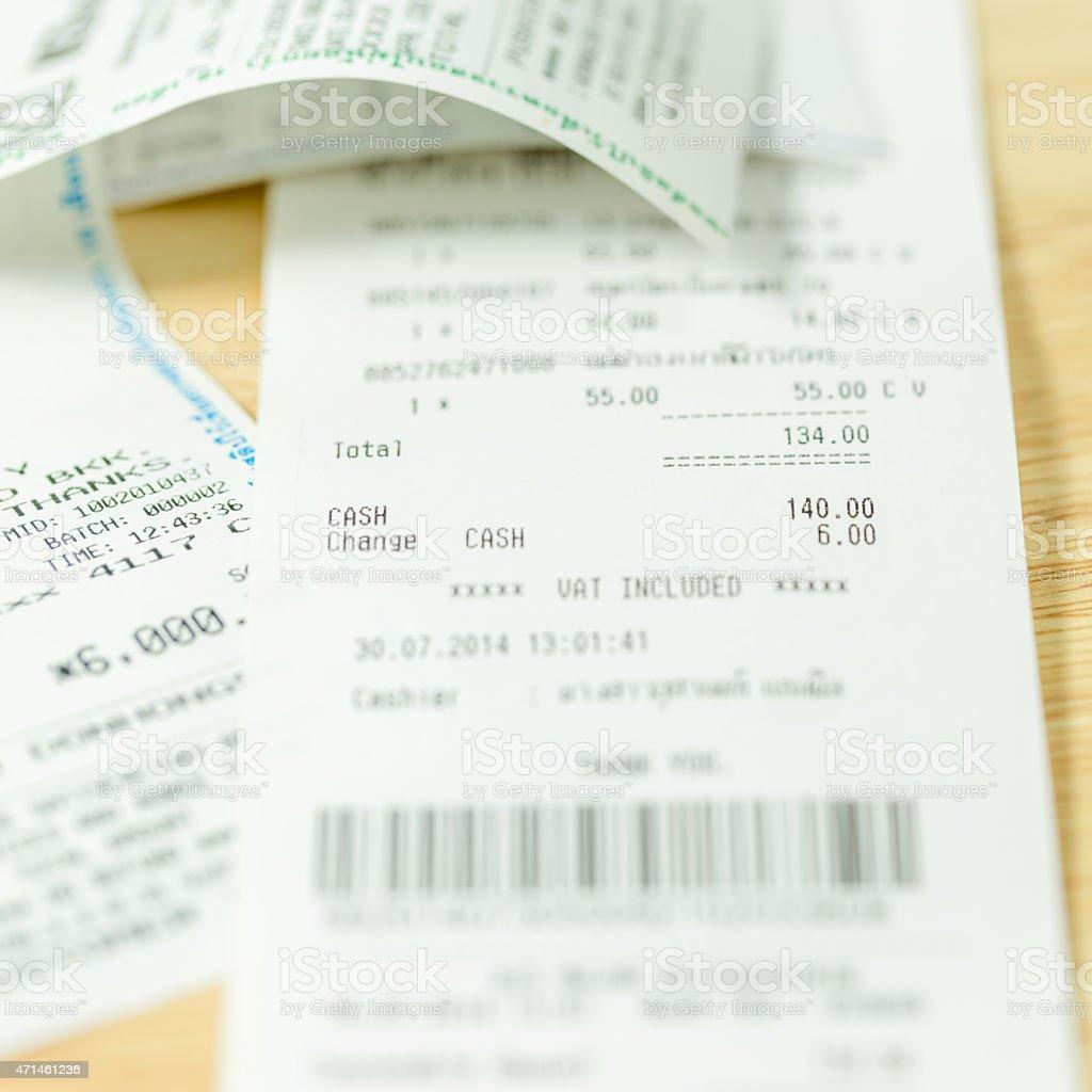 Receipt of shopping list. stock photo