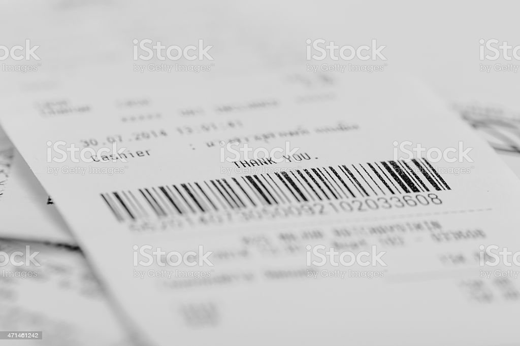 Receipt of shopping list. stock photo