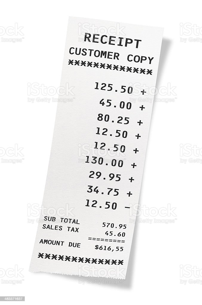 Receipt stock photo