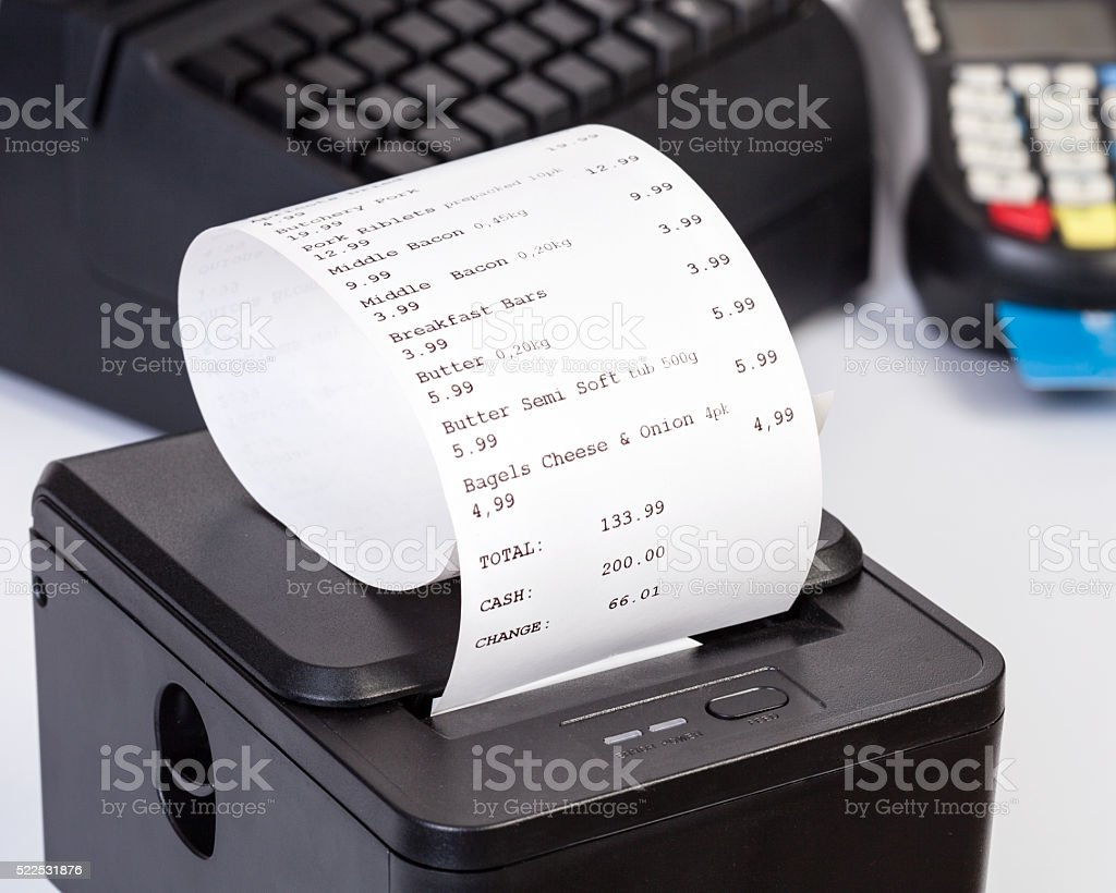 Receipt Printer with paper shopping bill. stock photo