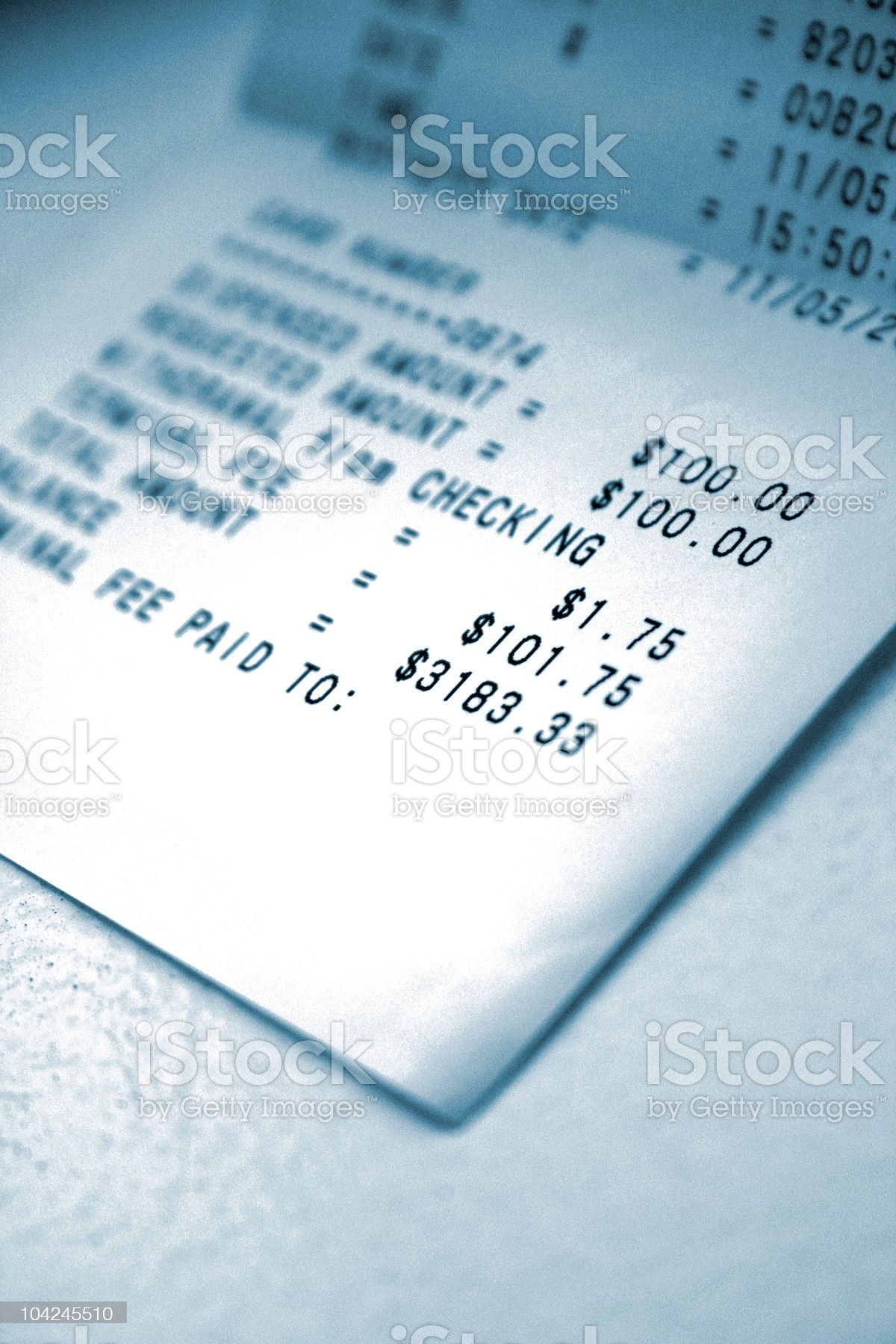 ATM Receipt With Transaction Fee - Close Up royalty-free stock photo