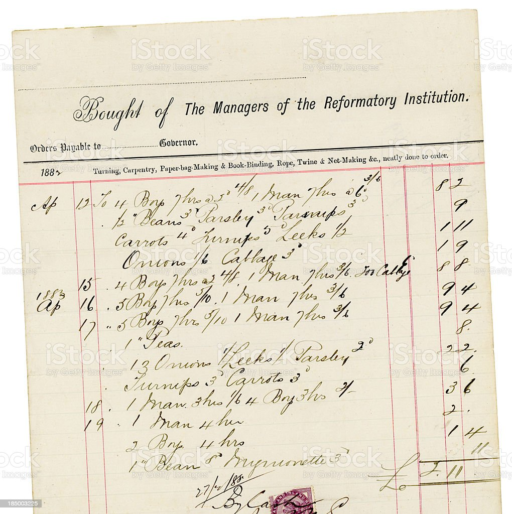 Receipted bill for labour and vegetables from a Victorian Reformatory royalty-free stock photo
