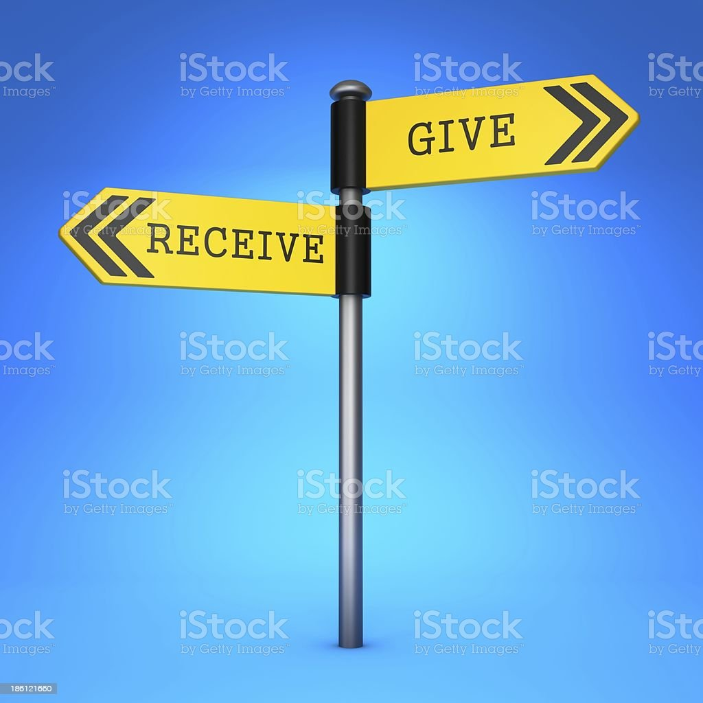 Receive or Give. Concept of Choice. stock photo