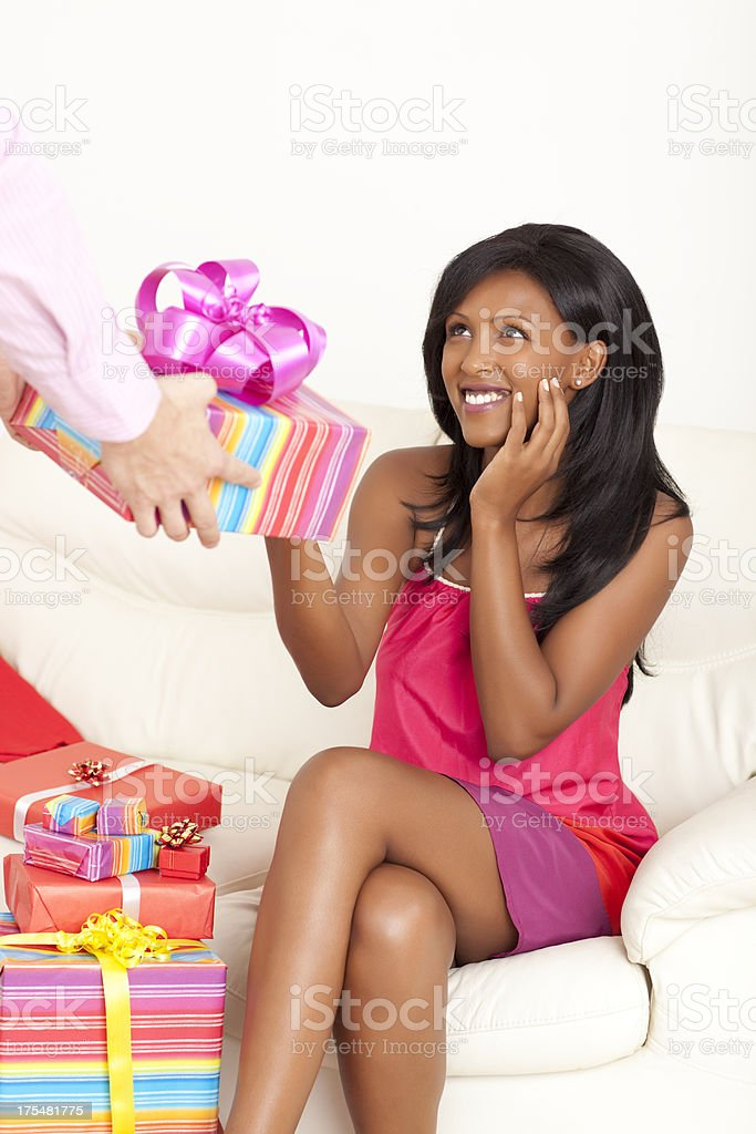 Receiving gift. royalty-free stock photo